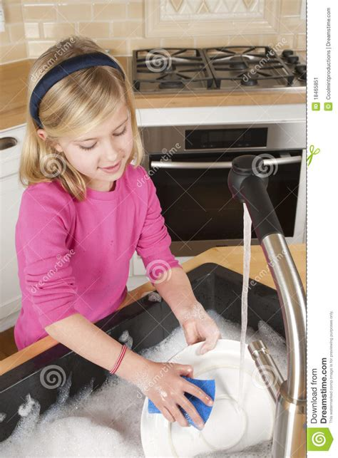 Cleaning Kitchen Faucet Young Washing Dishes Stock Image Image Of Help