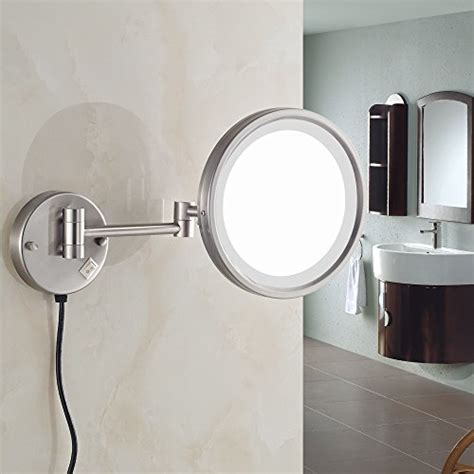 7x magnification led lighted wall mount makeup mirror led gurun 8 5 inch adjustable led lighted wall mount makeup