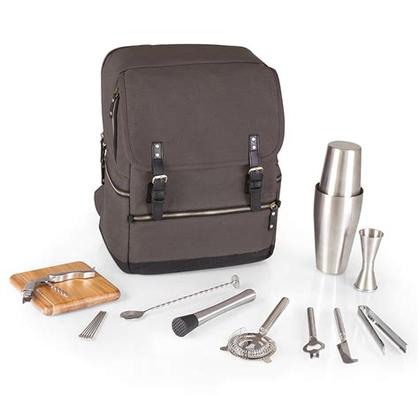 portable cocktail set picnic time bar backpack 16 piece portable cocktail set