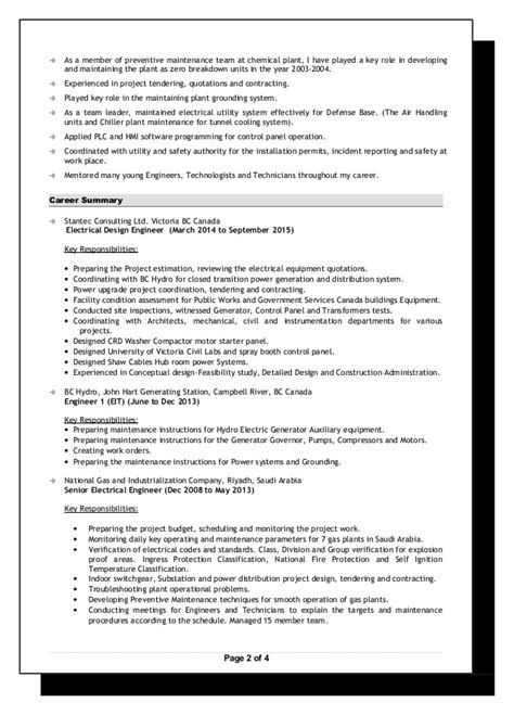 senior electrical engineer resume jan 2016