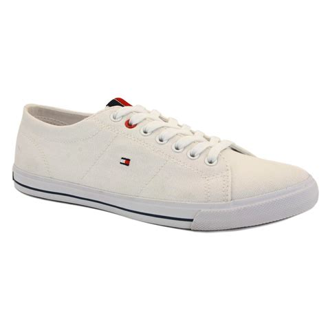 white hilfiger shoes hilfiger glasgow womens laced canvas trainers white