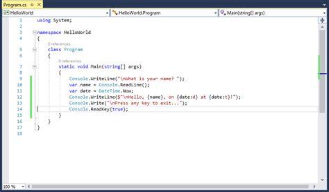 Drawing C Sharp by Visual Studio 2017에서 Net 및 C 을 사용하여 Hello World 응용
