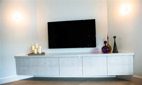 Kitchen With White Cabinets Floating Media Console Living Room Modern With Felt Stones