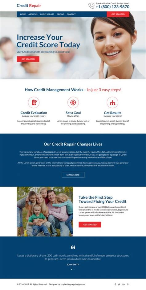 Credit Repair Website Templates promote your business with landing page designs