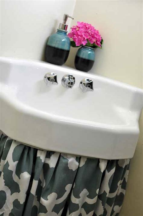 under bathroom sink curtain how to make a sink curtain skirt easy diy tutorial