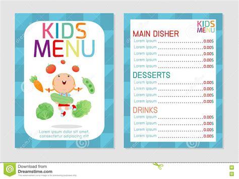 cute colorful kids meal menu vector template kids menu