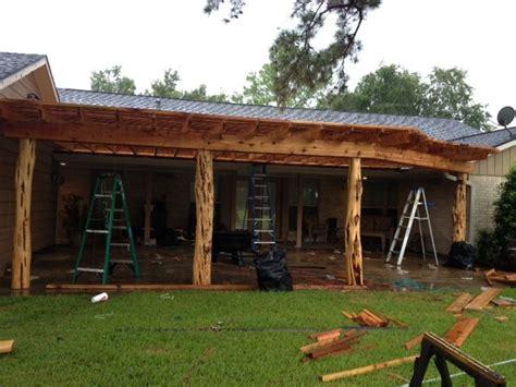 Pergola With Custom Cedar Posts   Rustic   Houston   by