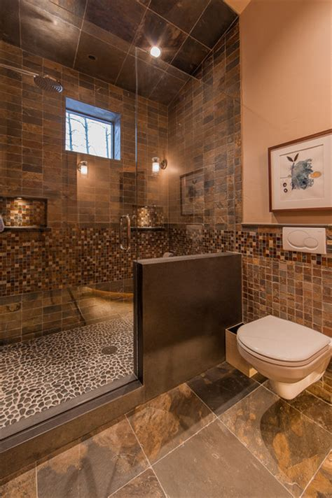rustic tile bathroom hinman creek rustic bathroom denver by kelly