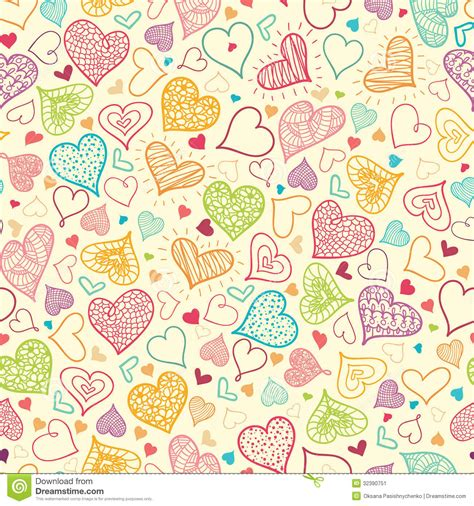 doodle pattern background doodle hearts seamless pattern background stock vector
