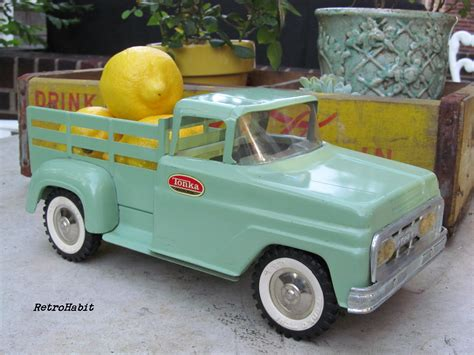vintage tonka truck decorating with vintage toys on