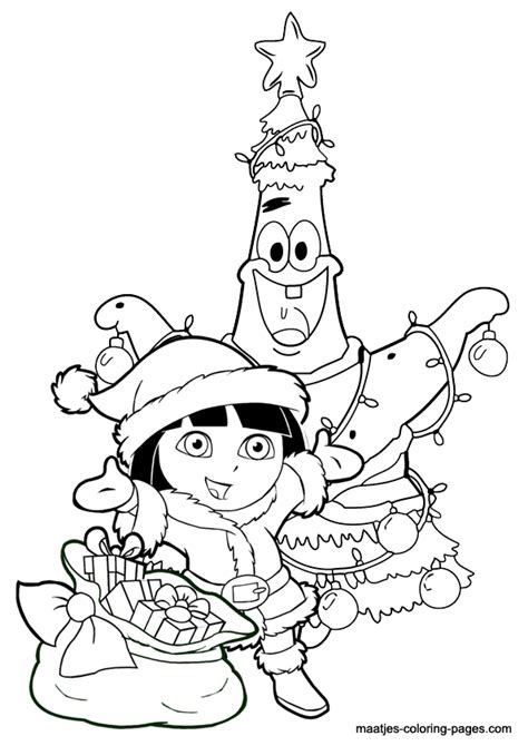 patrick star as christmas tree and dora the explorer santa