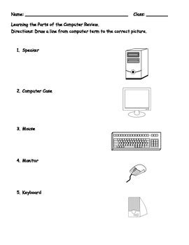 worksheet computer parts learning the computer parts matching worksheet by aimee bloom tpt
