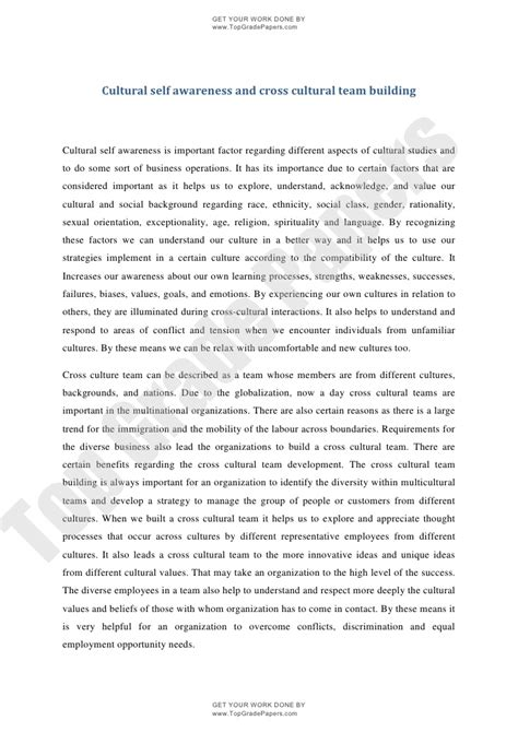 Culture Of Essay by Academic Essay Cultural Self Awareness And Cross Cultural Team Buil