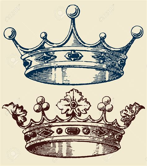 king and queen crown tattoo designs crown set royalty free cliparts vectors and stock