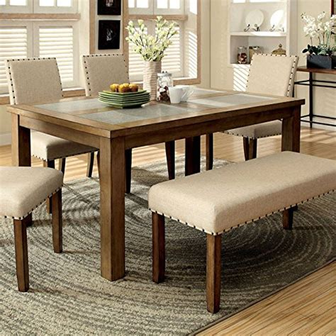 Tempat Makan Tableware Sets melston country style vintage oak finish 4 dining table bench set renovation store