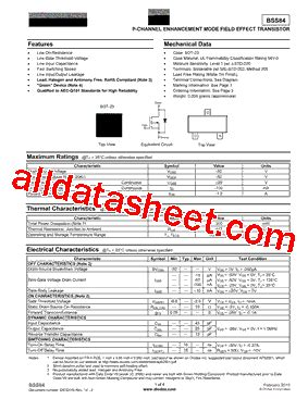 bss84 10 데이터시트 pdf diodes incorporated