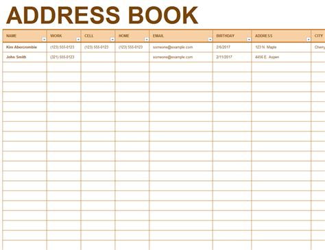 phone book template address book in excel template address book