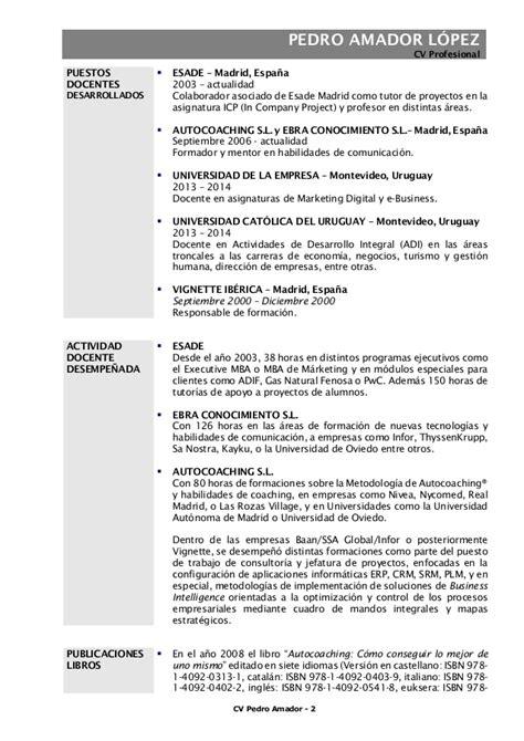 Modelo Curriculum Uam Sp Pedro Amador Cv Acad 233 Mico