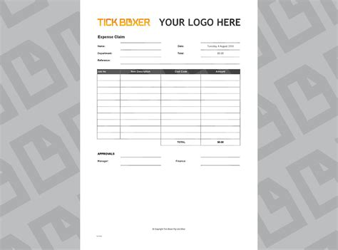 Ad Agency Expense Claim Template   Free download   Tick Boxer