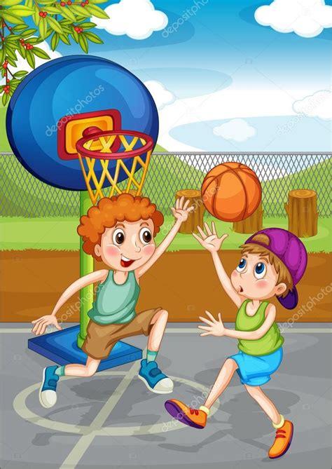 dibujos niños jugando baloncesto dos ni 241 os jugando baloncesto fuera de vector de stock