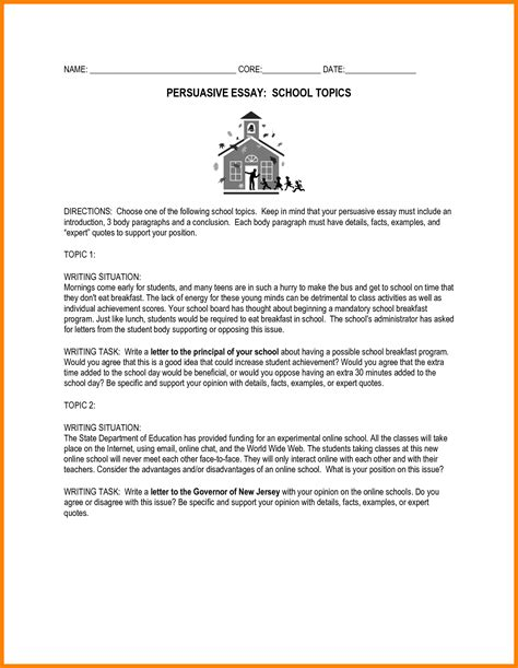 Argumentative Essay Exle Middle School by 9 Persuasive Essay Topics For High School Address Exle
