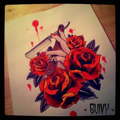 tattoo flash razor roses straight razor tattoo sketch guivy tattoo