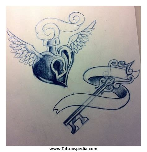 couple tattoo heart and key heart key tattoos couples 3