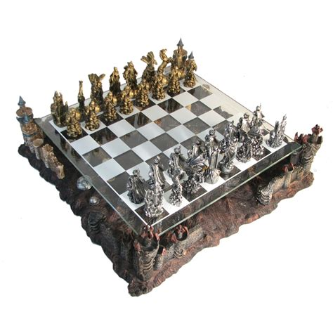 pewter glass fantasy chess set