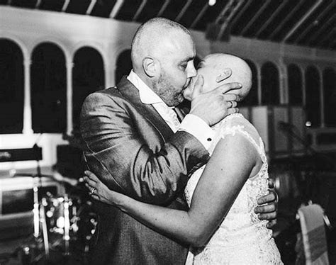 wife shaving husband bride shaves her head to support terminally ill groom on