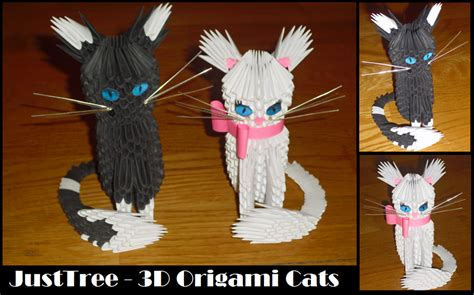 Origami 3d Cat - 3d origami cats by justtree on deviantart