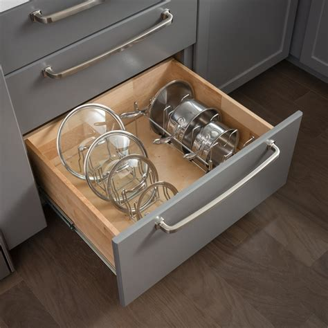 Pan Drawer Organizer by Pots Pans Drawer Lid Organizer All Cabinet Parts