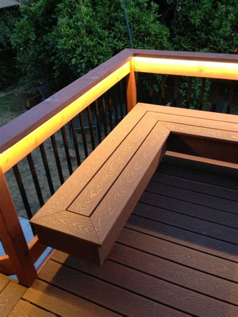 deck railing with bench seating deck with bench composite redwood contemporary
