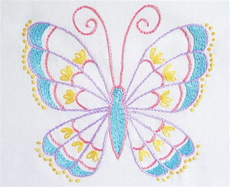 free butterfly hand embroidery stem stitch butterfly pattern