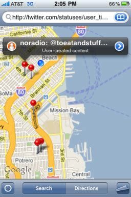 see geolocated tweets on google maps and the iphone too
