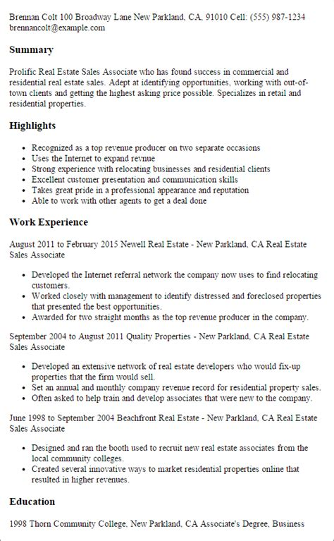 sle real estate resume no experience professional real estate sales associate templates to