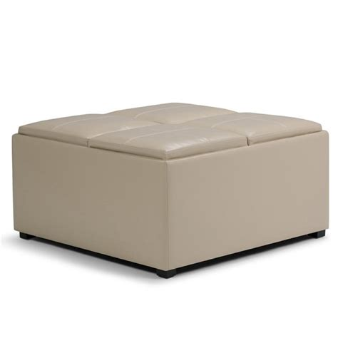 cream leather ottoman coffee table faux leather coffee table storage ottoman in cream ay f