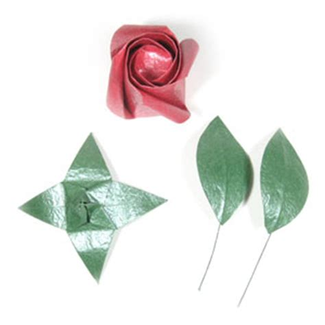 Origami Flower Stem - how to make an origami wire stem page 1