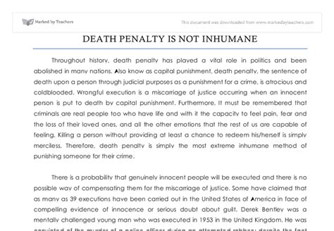 Do You Agree With The Penalty Essay by The Penalty Is Not Inhumane Do You Agree Gcse