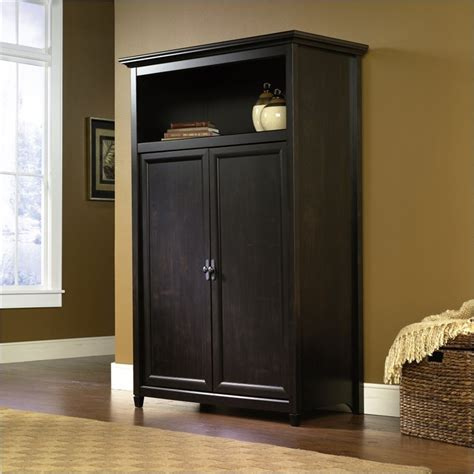 Computer Armoire Cabinet by Sauder Edge Water Estate Black Computer Armoire Ebay