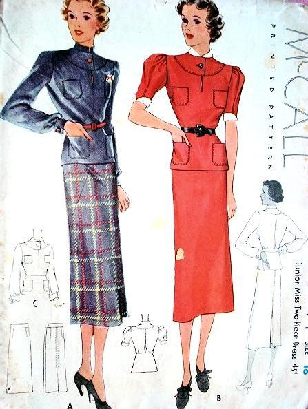 Wst 9044 Knit Dressskirts 1930s mccall pattern 9044 two pc dress slim skirt peplum
