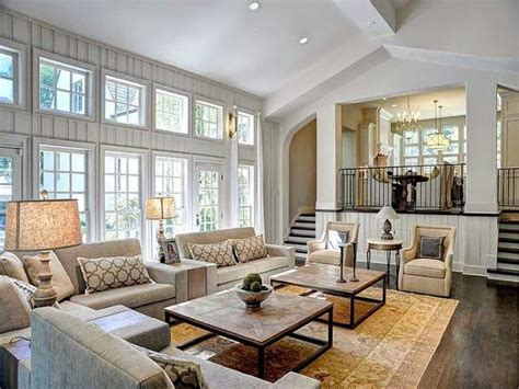 large living room pictures large open floor plan white living room traditional decor neutral colors two story windows