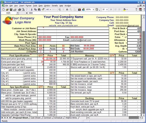 Construction Estimating Construction Estimating Excel Templates Pool Estimate Template