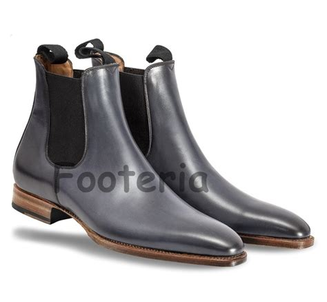 Handmade Dress Boots - handmade black leather boot chelsea boot for