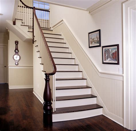 Chair Rail Up Stairs by B E Interiors Beadboard
