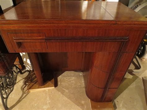 sewing machine cabinet singer mid 20th century walnut singer art deco sewing machine