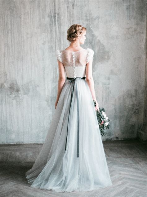 white day wedding dresses neva grey wedding dress tulle a line wedding gown