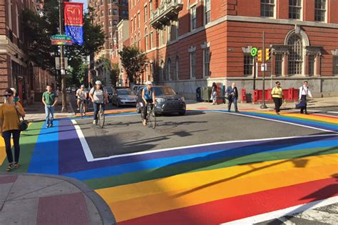 awesome rainbow colored crosswalks are now in place in
