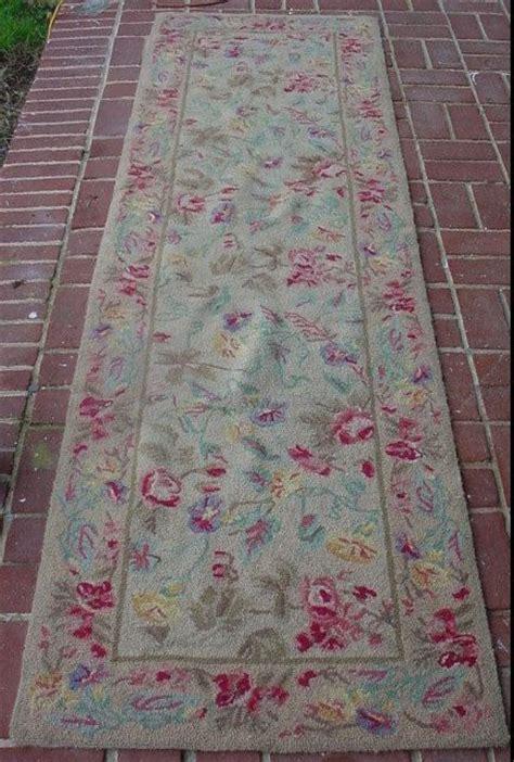 Shabby Chic Runner Rug Vintage Floral Hooked Rug Carpet Pink Floral Rug Runner Cottage Chi