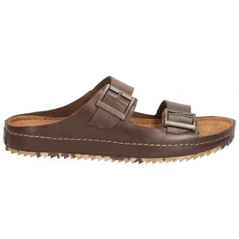 buckle sandals clarks mens netrix buck brown leather buckle sandals