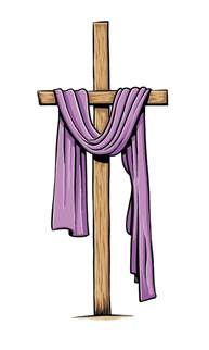 cross with purple drape thank you oh my for giving us your and